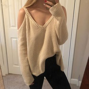 Cold Shoulder Knitted Comfy Sweater